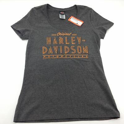 HARLEY-DAVIDSON GENUINE MOTOR BIKE LADIES SHORT SLEEVE GREY TSHIRT S XL XXL L