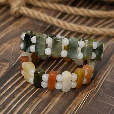 "Genuine Burmese Jadeite Jade Sterling Silver Stretch Bracelet **6mm Beads** 7.5/"""
