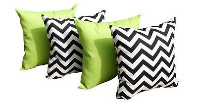 Black and Lime Outdoor Pillows, Solid Lime Green Pillow, Chevron Black - 4 Pk