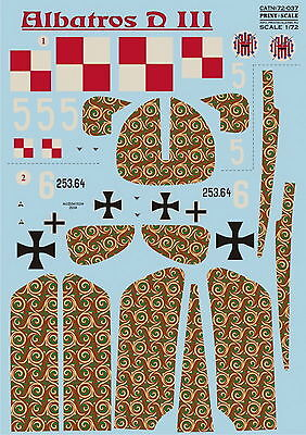 DECAL FOR AIRPLANE ALBATROS D.I /& D.II ACES OF WWI 1//72 PRINT SCALE 72-235