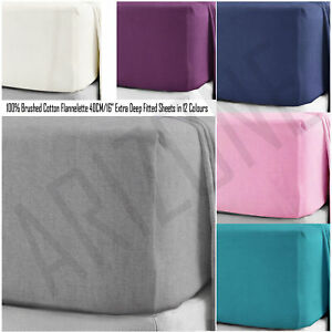 100-Brushed-Cotton-Flannelette-Extra-Deep-Fitted-Sheets-40CM-16-034-in-12-Colours