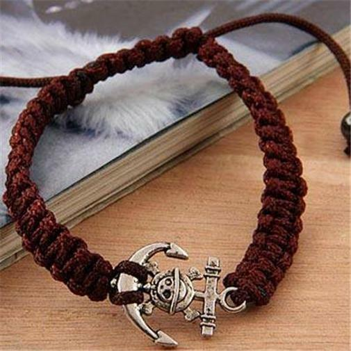 Silver Plated Pirate Anchor Rope Bracelet Shamballa Brown Nautical USA Seller