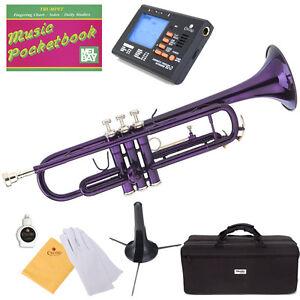 Mendini-Bb-Trumpet-Purple-Lacquered-Student-Band-Tuner-Case-CareKit-MTT-PL