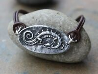 Celtic Dragon Bracelet - Pewter Link, Brown Leather Cord - Sterling Silver Clasp