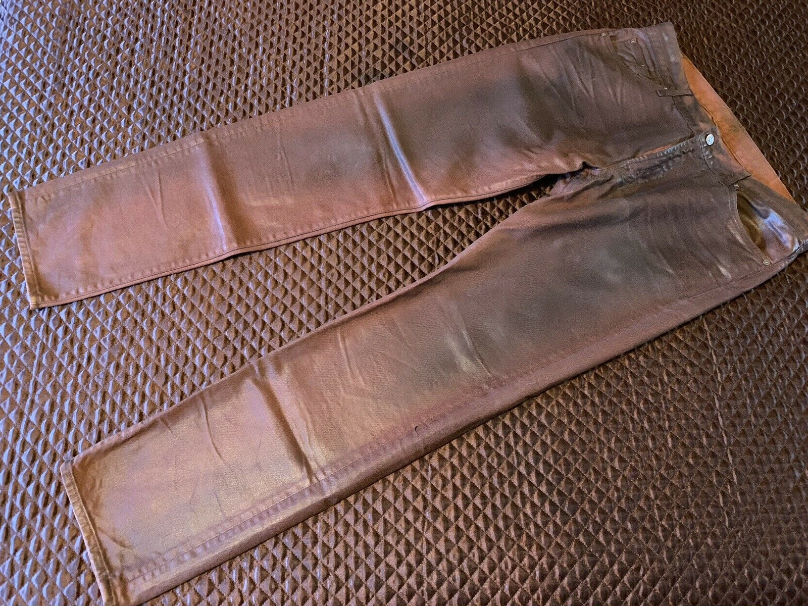 """NEW - 7 FOR ALL MANKIND """"SLIMMY"""" COATED STRAIGHT LEG JEANS IN RED - US 36"""