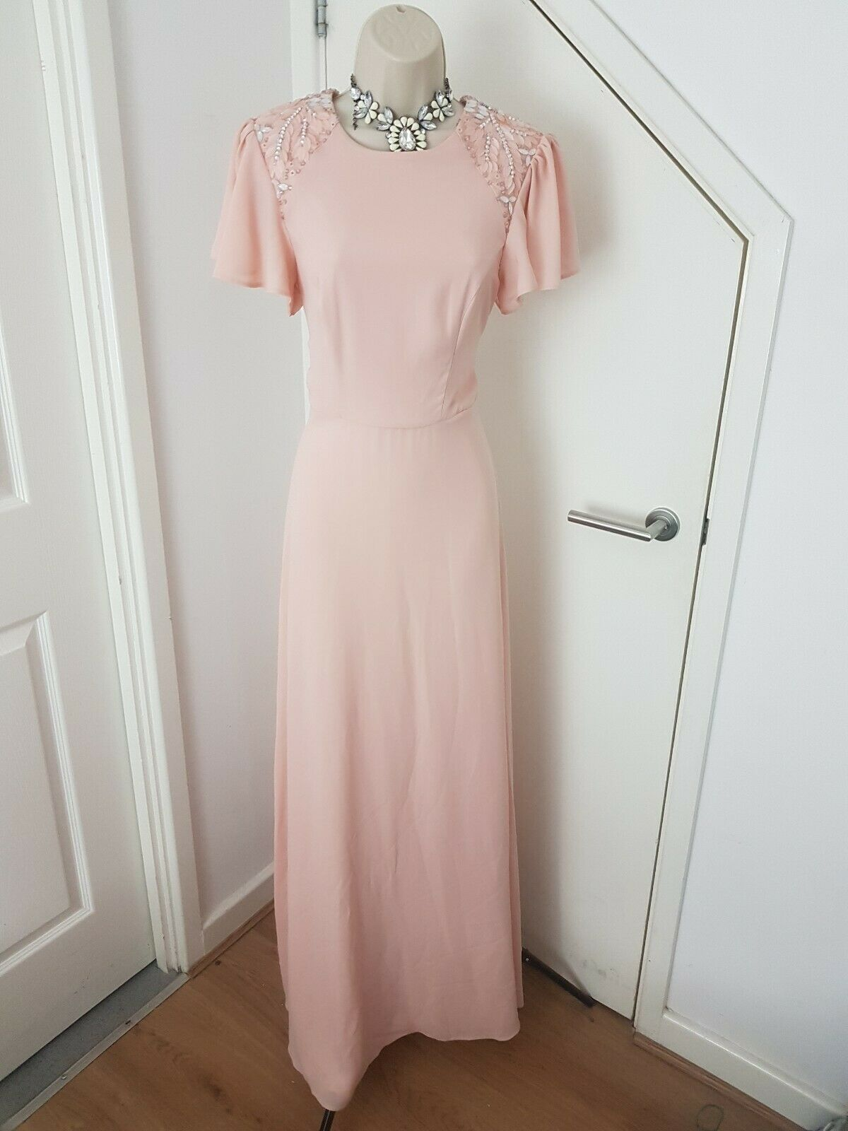 Asos Mother Of The Bride Groom Dress Maxi Beaded Cap Sleeves Occasion Pink UK10