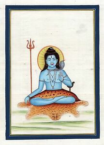 Mahadev-Shiva-Art-Handmade-India-Hindu-Deity-Spiritual-Silk-Watercolor-Painting