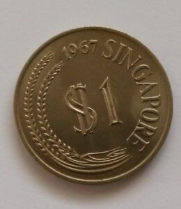 Singapore-1-Dollar-Lion-Coin-of-Year-1967-A-VERY-FINE-amp-NICE-Coin
