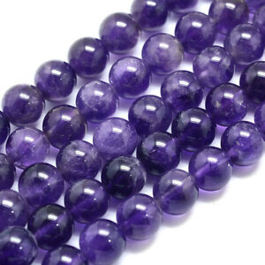 3Strds Natural Amethyst Stone Beads ROund Smooth Semi Gems Purple Loose Bead 8mm