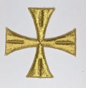 Vintage-Croce-3-034-Ricamato-da-Cucire-Color-Oro-D-C261-Maltese-Emblema-Toppa-2