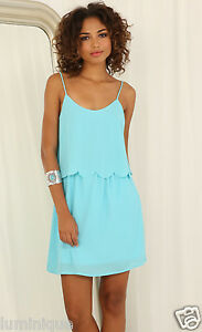 Scallop-Layered-Dress-L-12-14-Blue-Tiered-Top-Cami-Lined-Skirt-Chiffon-Party
