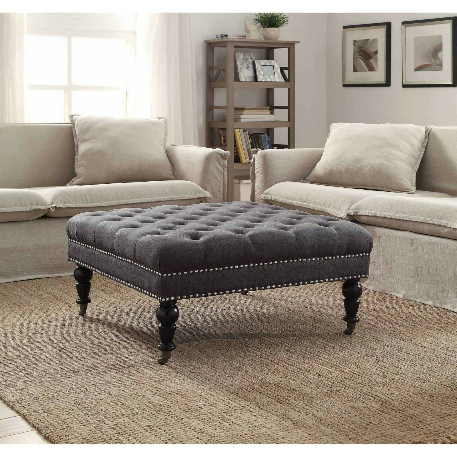 36 In Wide Black Square Coffee Table Storage Ottoman For Sale Online Ebay