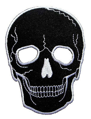 Big Black Skull Motorcycles Biker Rock Embroidered Iron on Patch Free Shipping