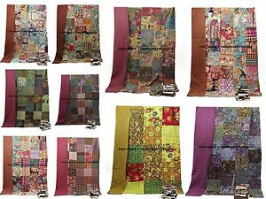 Indian-Kantha-Twin-Quilt-Handmade-Patchwork-Reversible-Bedspread-Blanket-Throw