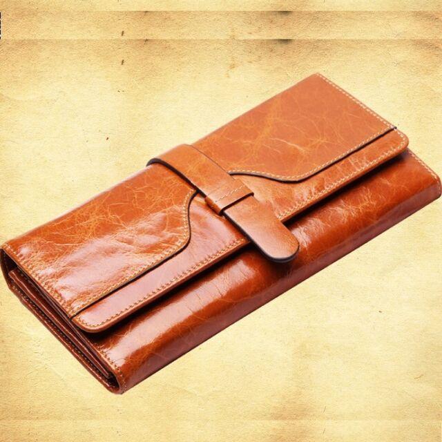 Women's Genuine Leather Long Wallet Clutch Purse Lady Handbag Money Bag Brown