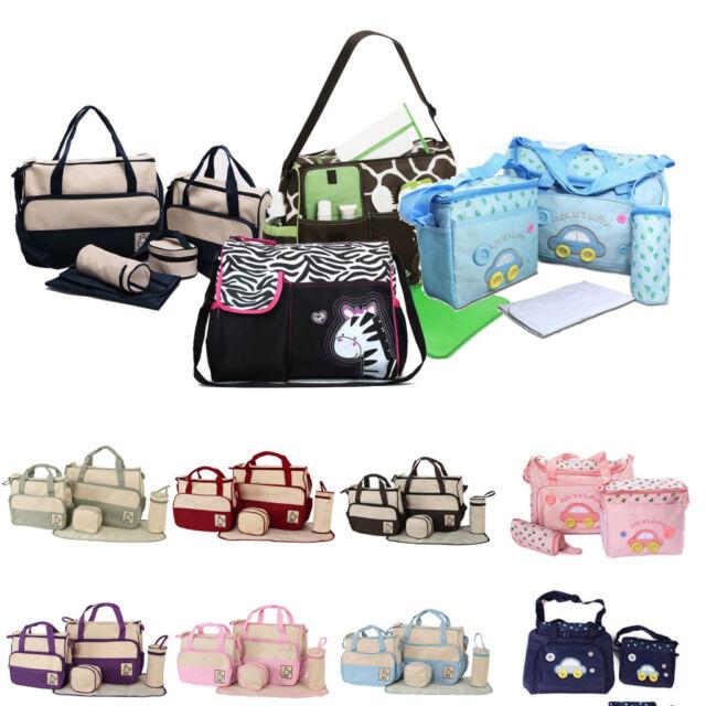 3/4/5pcs Set Multifunction Baby Changing Diaper Nappy Bag Mummy Shoulder Handbag