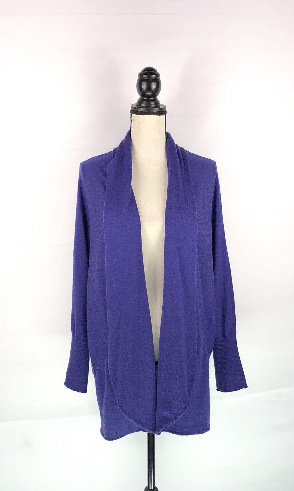 EILEEN FISHER Cardigan Sweater Women Sz Large bluee Purple Merino Wool Open Front