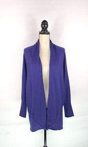 EILEEN-FISHER-Cardigan-Sweater-Women-Sz-Large-Blue-Purple-Merino-Wool-Open-Front