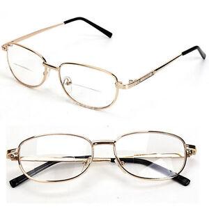 Mens Eyeglasses No Frame : Fashion Bifocal Lens Rimmed Mens Reading Glasses Gold ...