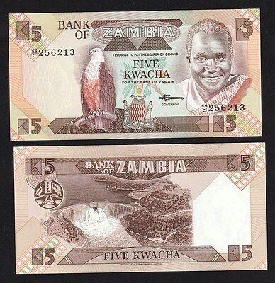 ZAMBIA 5 KWACHA 1980-1988 P 25 UNC