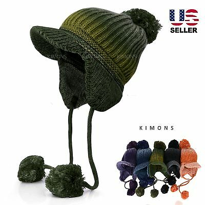 Lined Visor Trapper POM Ear Flap Baggy Beanie Hat Knit Winter Ski Cap Skull