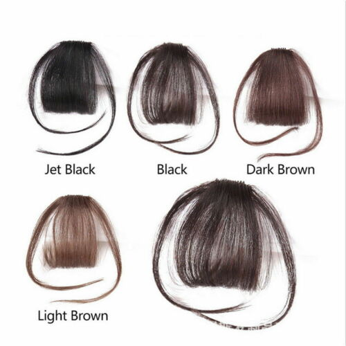 Natural 100/% Thin Neat Air Bangs Human Extension Clip In Fringe Front Hair Piece