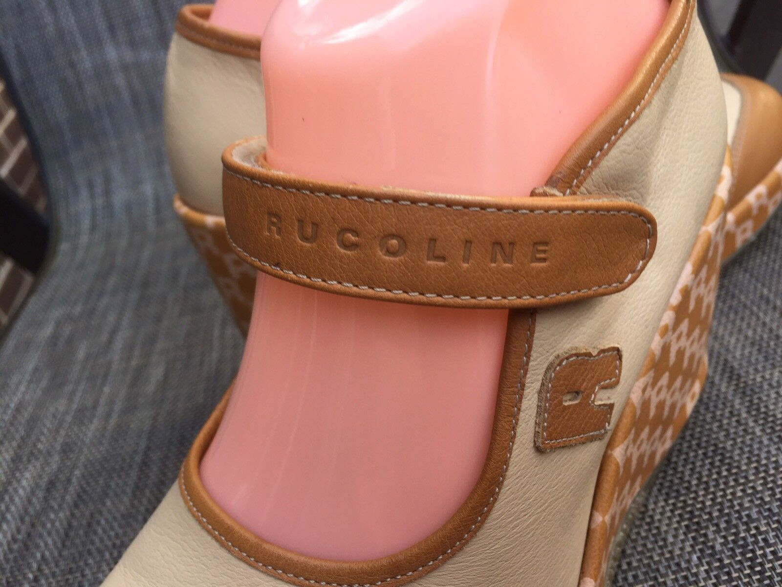 EUC RUCO LINE women's Beige brown Leather Leather Leather Wedge platform sz.39 Mary Jane 03b6f4