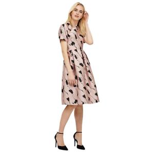 New Phase Eight Carlett Dusty Pink /& Black Floral Dress Sz UK 12 rrp £150