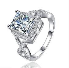 925 Silver Jewelry Princess Cut White Sapphire Women Elegant Wedding Ring Size 6