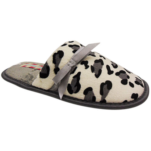 NEW WOMENS LADIES LOW WEDGE HEEL LEOPARD SLIP ON MULE COMFY SLIPPERS SHOES SIZE