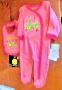 9715b9fe3 John Deere girls 2-piece pink snap up pjs w/footies and matching ...