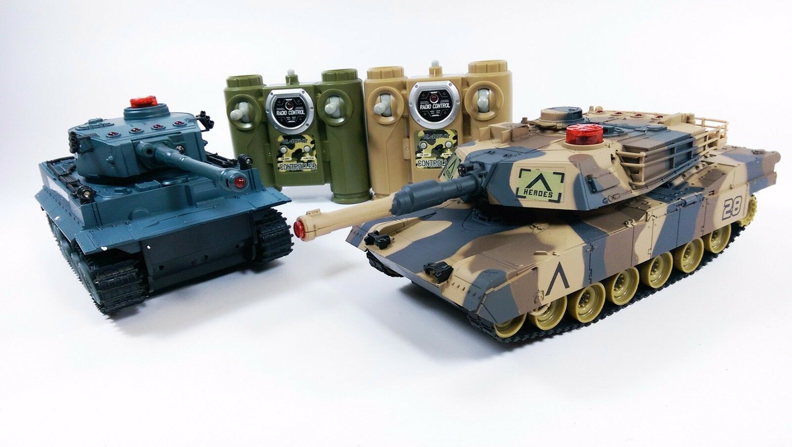 UK HEAVY LARGE INTERACTIVE TWIN BATTLE TANK CAR RC RADIO REMOTE CONTROL 2 PLAYER