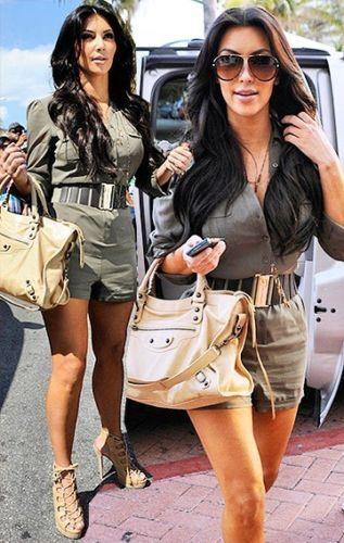 NEW Kardashians by Bebe Silky Shirt Romper Jumpsuit Army Green