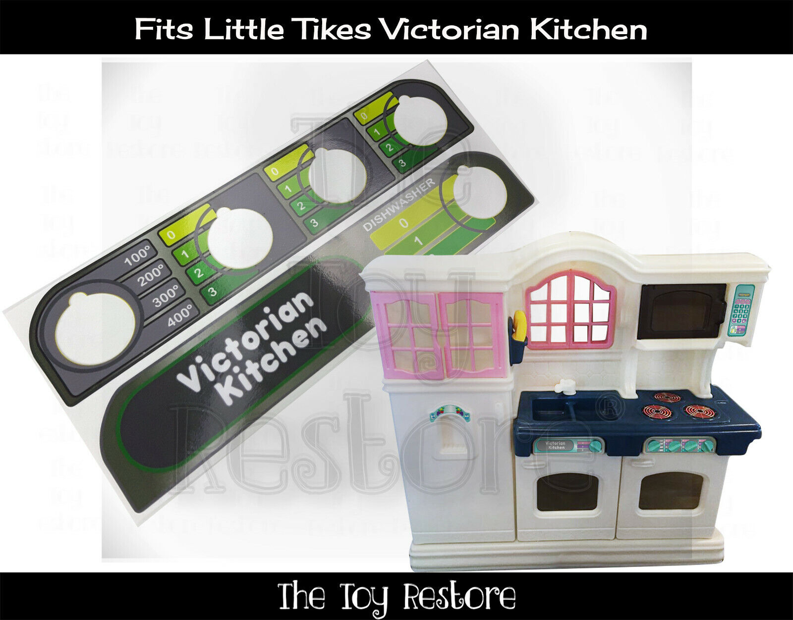 Replacement Stickers Fits Little Tikes Victorian Play Kitchen Dials Stainless Ebay