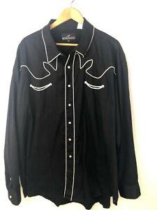 Western-Express-Long-Sleeve-Button-Front-Shirt-Pearl-Snap-Mens-4XL