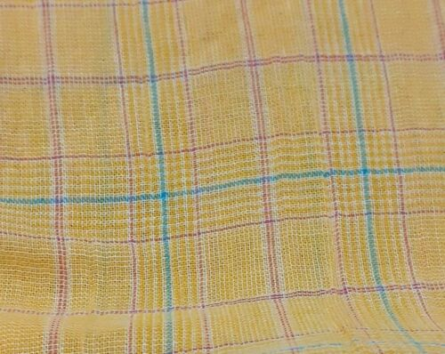 CHECKED YELLOW THIN CRINKLED COTTON FABRIC SOLD BY THE METRE