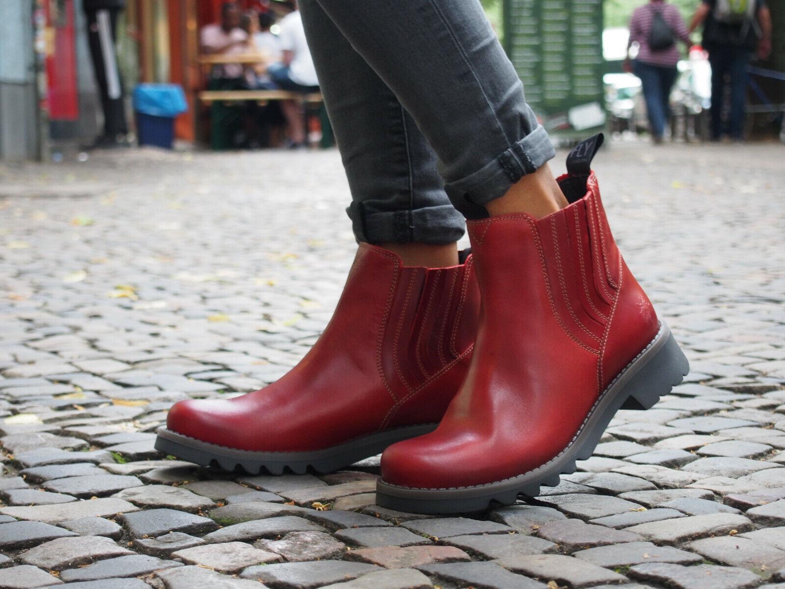 Chelsea RALT London FLY Stiefel Rot NEU Schuh Echtleder