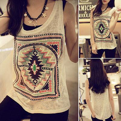 Hot Women Summer Casual Sleeveless T-Shirt Loose Geometric Vest Tank Top Blouse