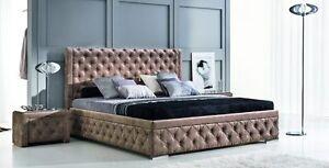 Design luxus lounge polsterbett doppelbett futon bett stoff braun