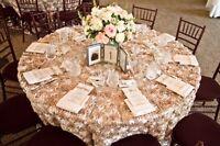 132 Round Rosette Satin 3d Tablecloth Grandiose Rose Ribbon Cake Table Overlay
