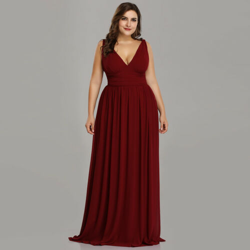 Ever-Pretty US Plus Size Long Double V-neck Evening Dress Bridesmaid Gowns 09016