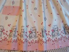 Vintage Ladies Half Apron PINK Cotton CAT Kitten Print Cottage