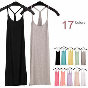 Women-Layer-Extra-Long-Racerback-Stretch-Cami-Tank-Top-Bandage-Mini-Dress-Summer