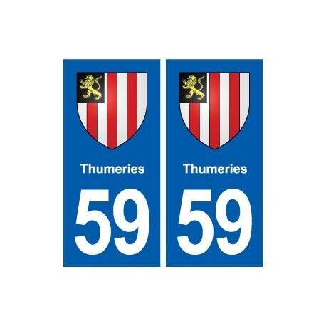 59 Thumeries blason autocollant plaque stickers ville droits