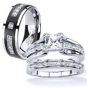 Image Is Loading His And Hers Stainless Steel Princess Cut Wedding