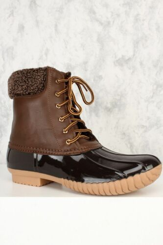 New Green Black Brown Lace Up Jelly Combat Boots Faux Leather PVC Rain Shoes
