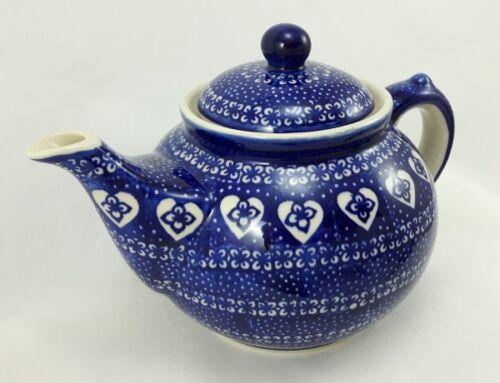 C017-DSS Herzen Bunzlauer Keramik Teekanne blau//weiß Kanne für 1,3Ltr Tee