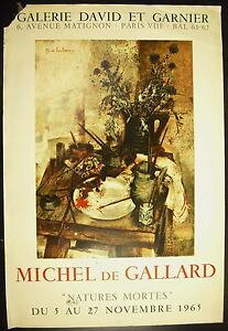 Hospitalier Affiche Exposition Michel De Gallard Galerie David Et Garnier 5 Novembre 1965