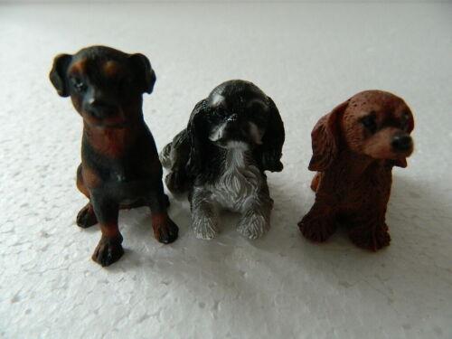 escala 1//12th casa de muñecas conjunto de tres perros de resina Surtidos G6.19
