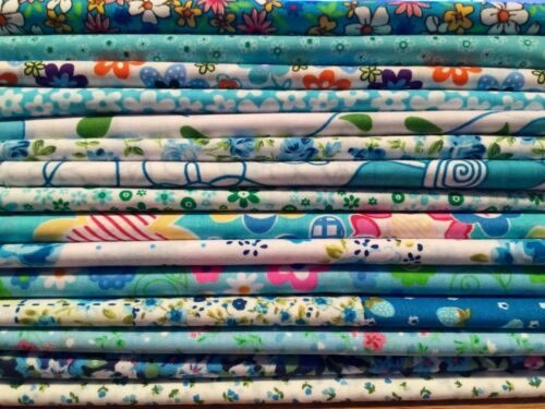 fragmentos restos 15 Fat Quarters Bundle Turquesa Tela polycotton de astillas